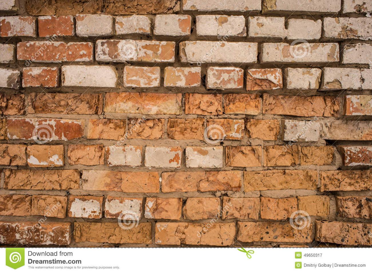 Old Terracotta Brick Stock Photo.