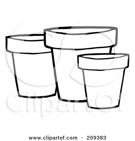 Terracotta Pot To Color Clipart.