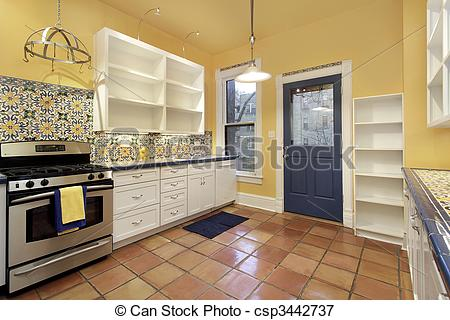 Picture of Kitchen with terra cotta floor tile.