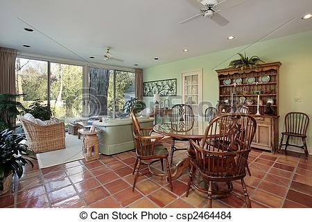 Stock Photo of Family room with terra cotta floor.