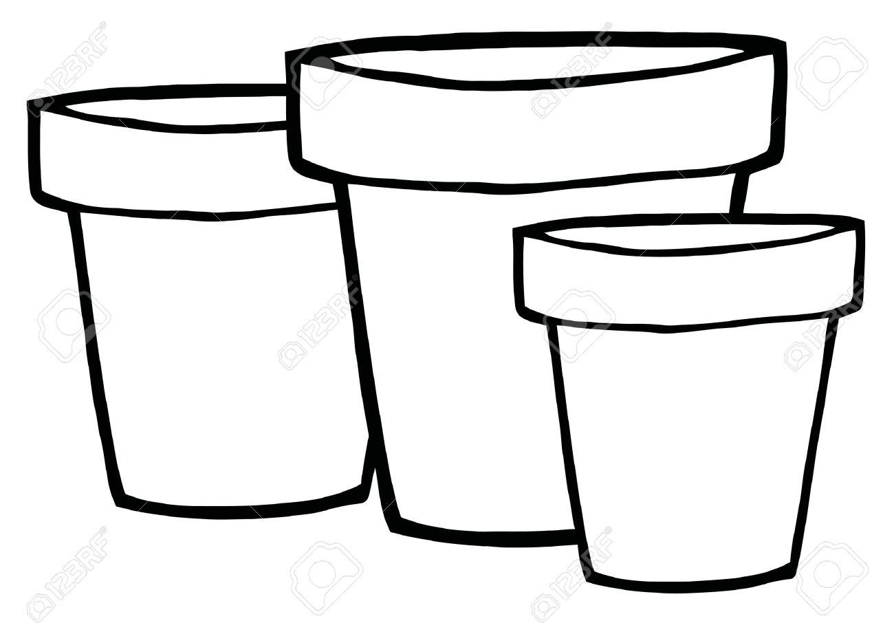 Three Outlined Terra Cotta Pots Royalty Free Cliparts, Vectors.