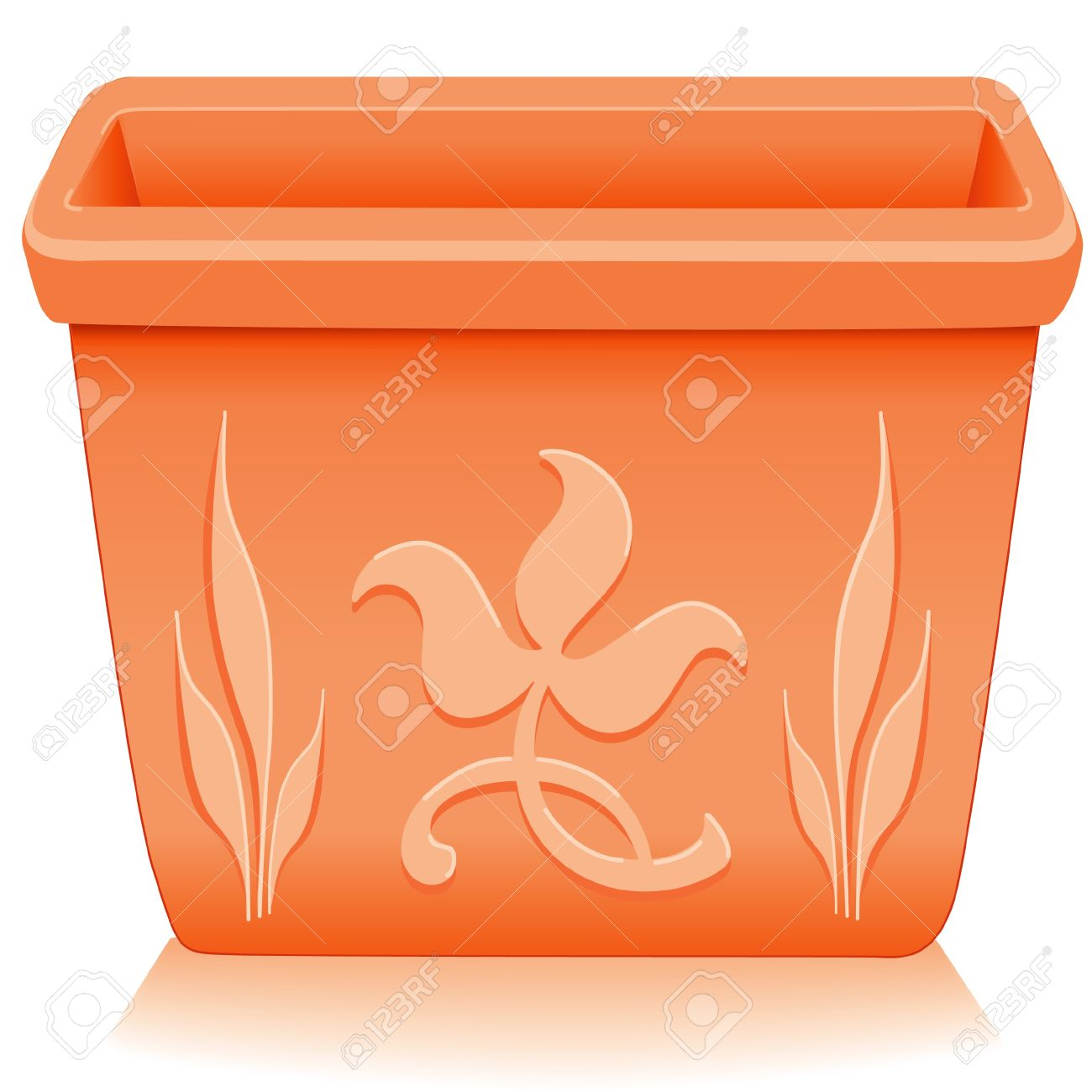 Flowerpot Planter Square Clay Pottery With Embossed Floral Designs.
