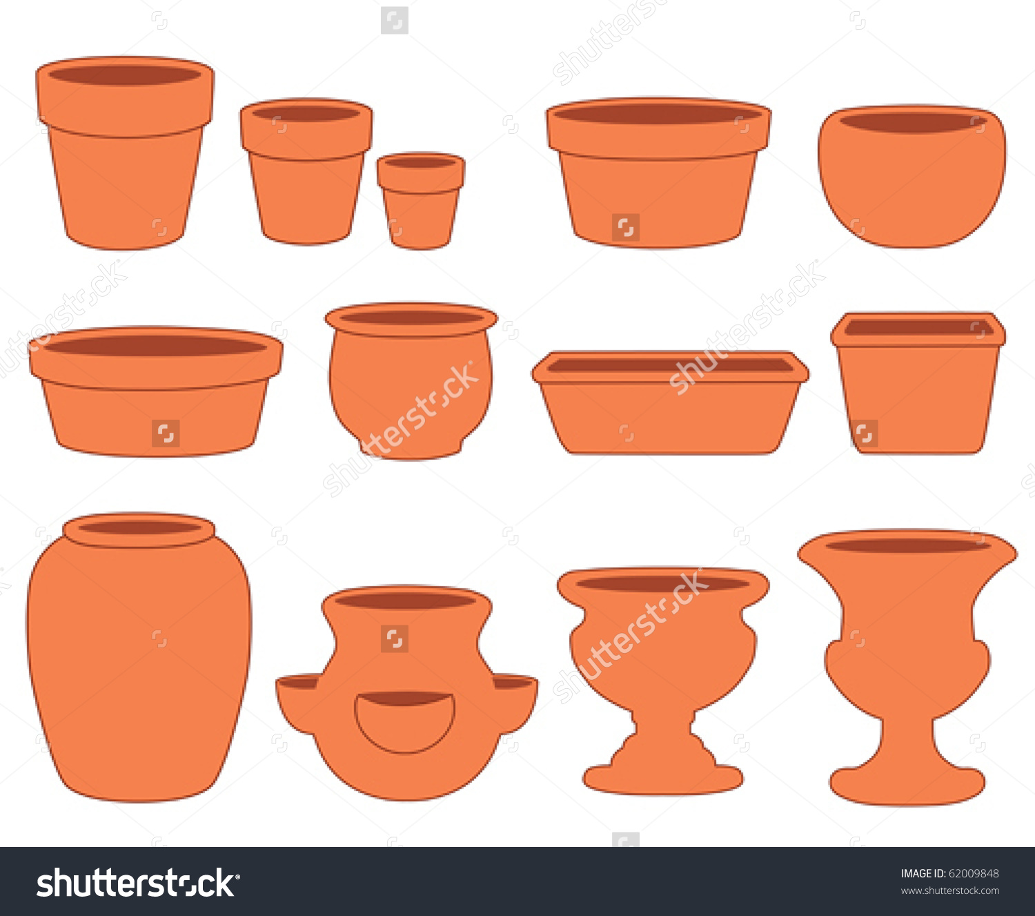 Flowerpots Gardening Do Yourself Projects Clay Stock Vector.