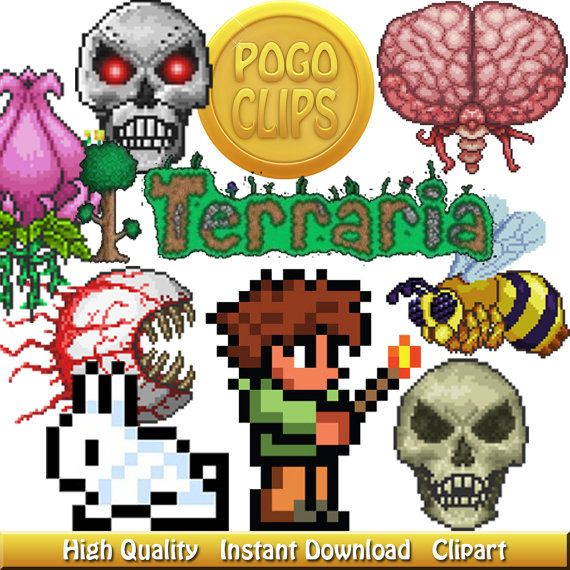 44 Terraria clipart Characters / Clip Art DIY Instant by.