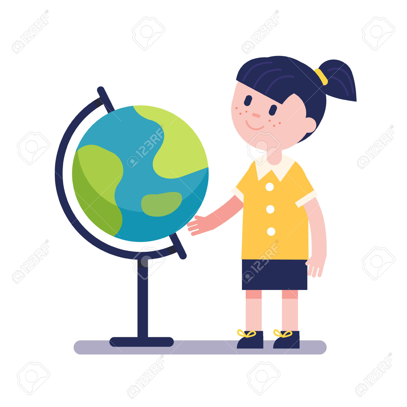 Girl Learning Geography With Earth Terrestrial Globe. Kid.