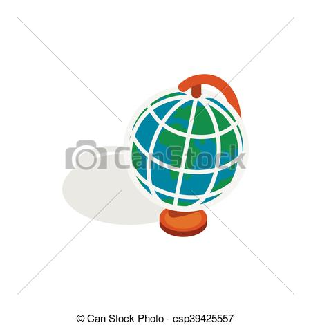 Clipart Vector of Terrestrial globe icon, isometric 3d style.