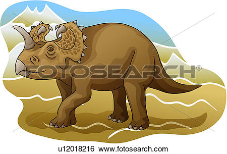 Clip Art of vertebrate, dinosaur, reptile, paleontology.