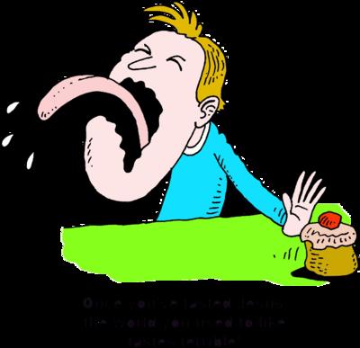 Image: Man sticking out tongue and pushing cupcake away.