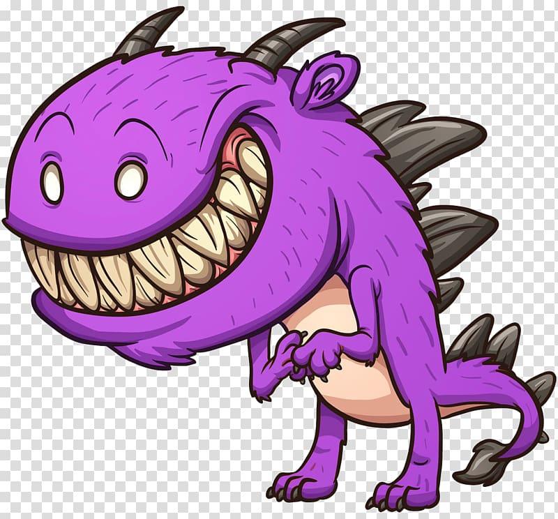 Cartoon Monster Illustration, Terrible monster transparent.