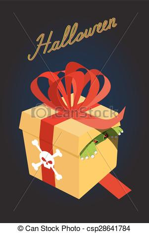 Vector of gift for halloween.Monster in a box. Fear. A terrible.