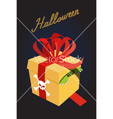 Gift for halloweenmonster in a box fear a terrible vector by.