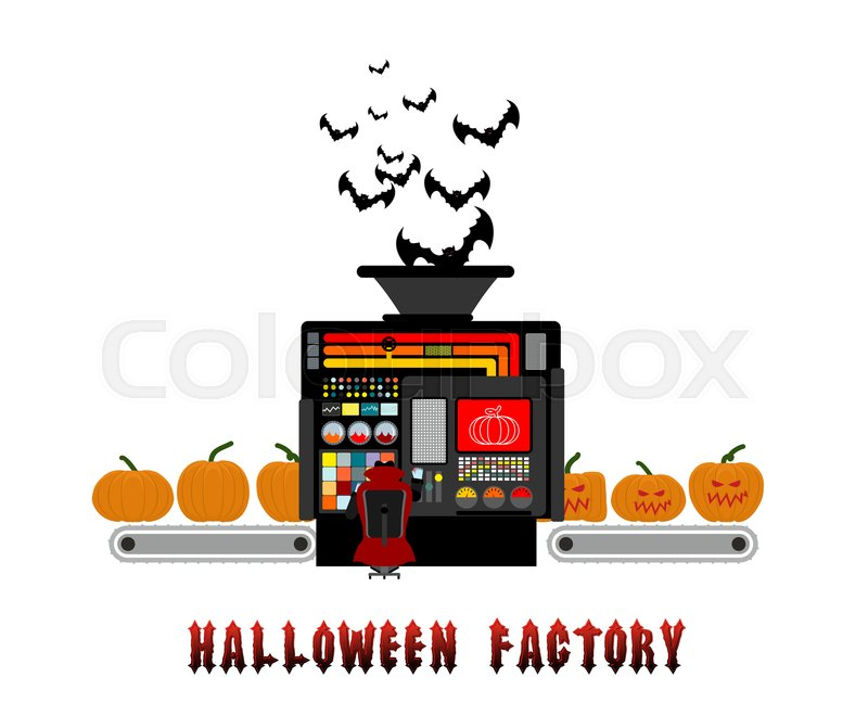 Halloween factory. device manufacturing scary pumpkin. Vegetables.