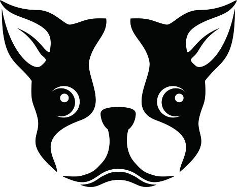 Boston Terrier Silhouette Stencil Clipart.