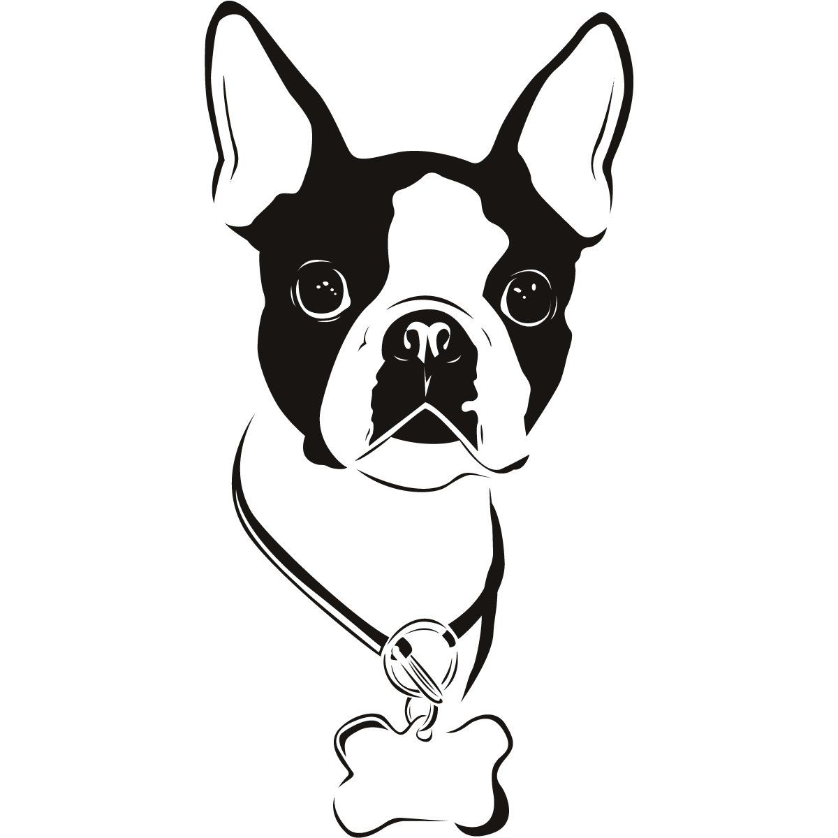 Boston Terrier Silhouette Clipart.