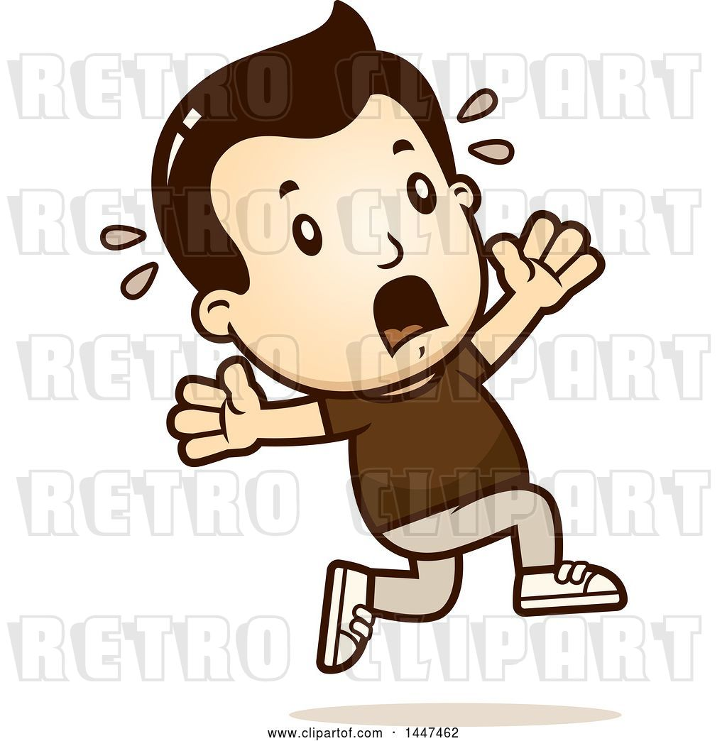 Vector Clip Art of Retro Cartoon White Boy Running Scared by.