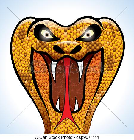 Vector Clip Art of Scary Cobra Head.