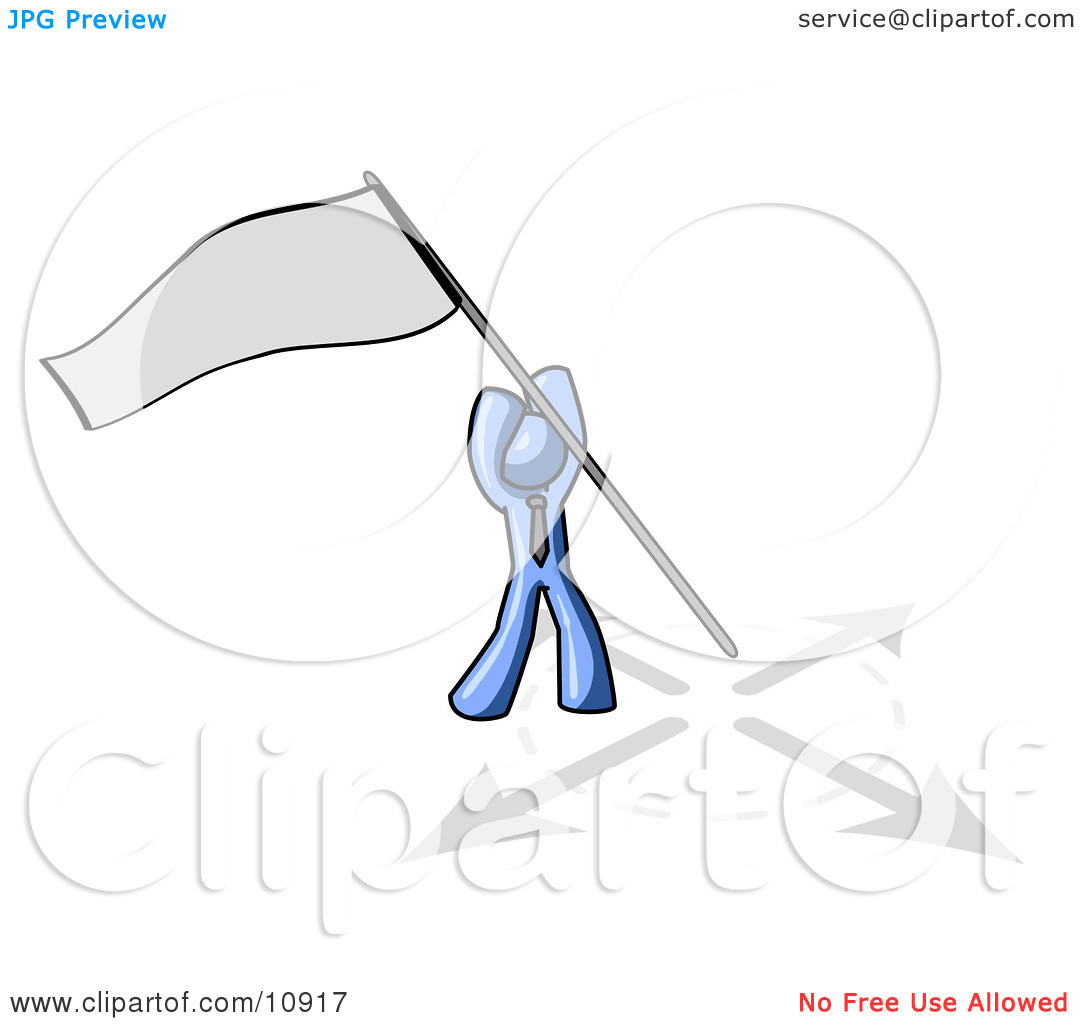 Blue Man Claiming Territory or Capturing the Flag Clipart.
