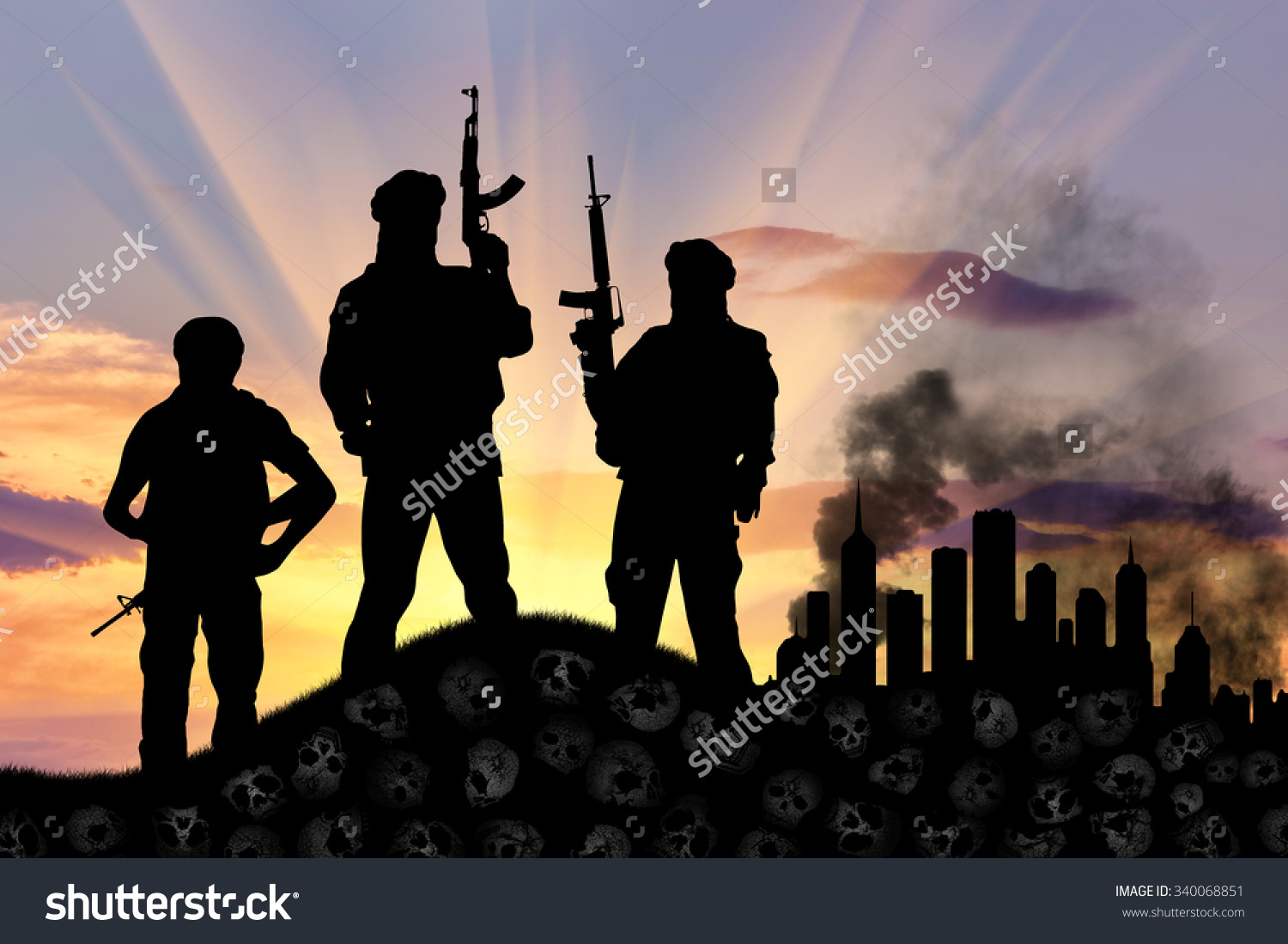Concept Terrorist Attack Silhouette Terrorists Rifle Stock Photo.