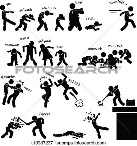 Clip Art of Zombie Undead Attack Apocalypse k13387237.