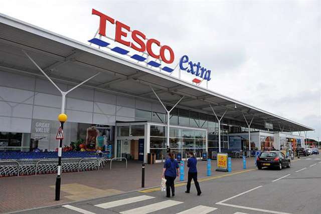 Tesco continues fight to trademark blue dashes under its logo.
