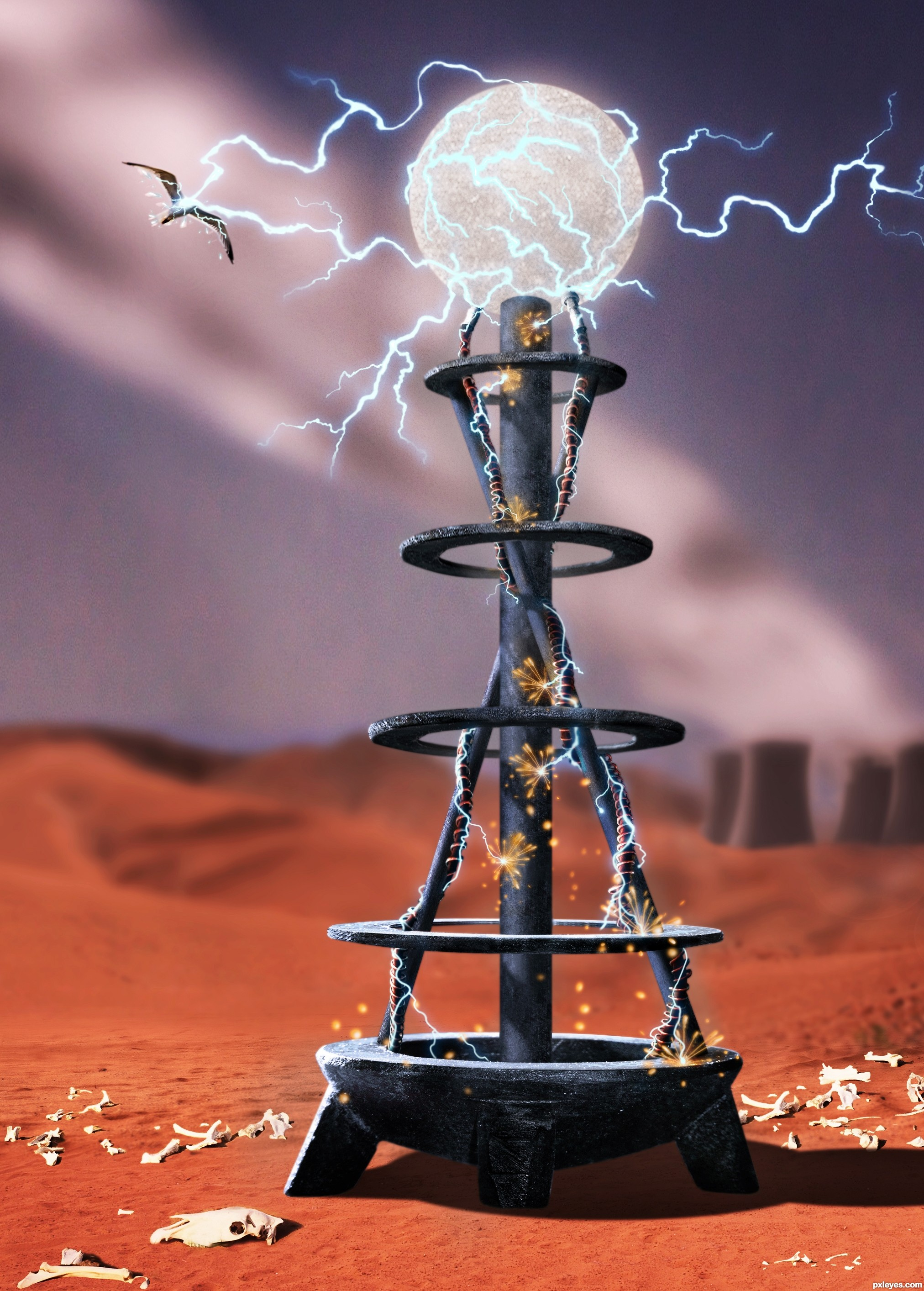 Tesla Coil picture, by greymval for: kavia bowl photoshop contest.