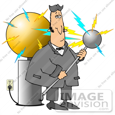 Clip Art Graphic of Nicola Tesla Surrounded By Electricity While.