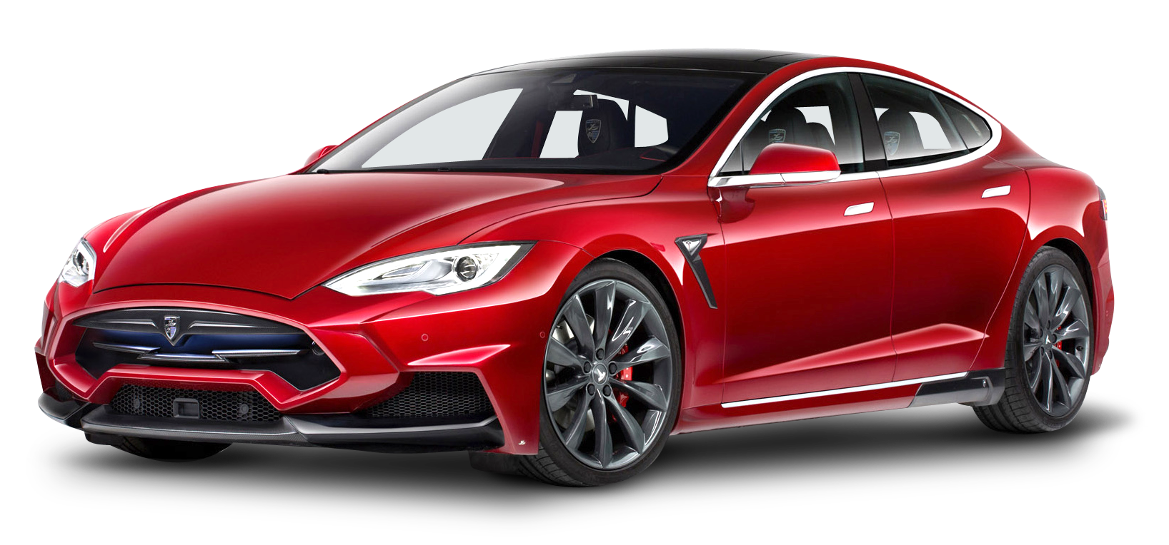 Tesla Model S Red Car PNG Image.
