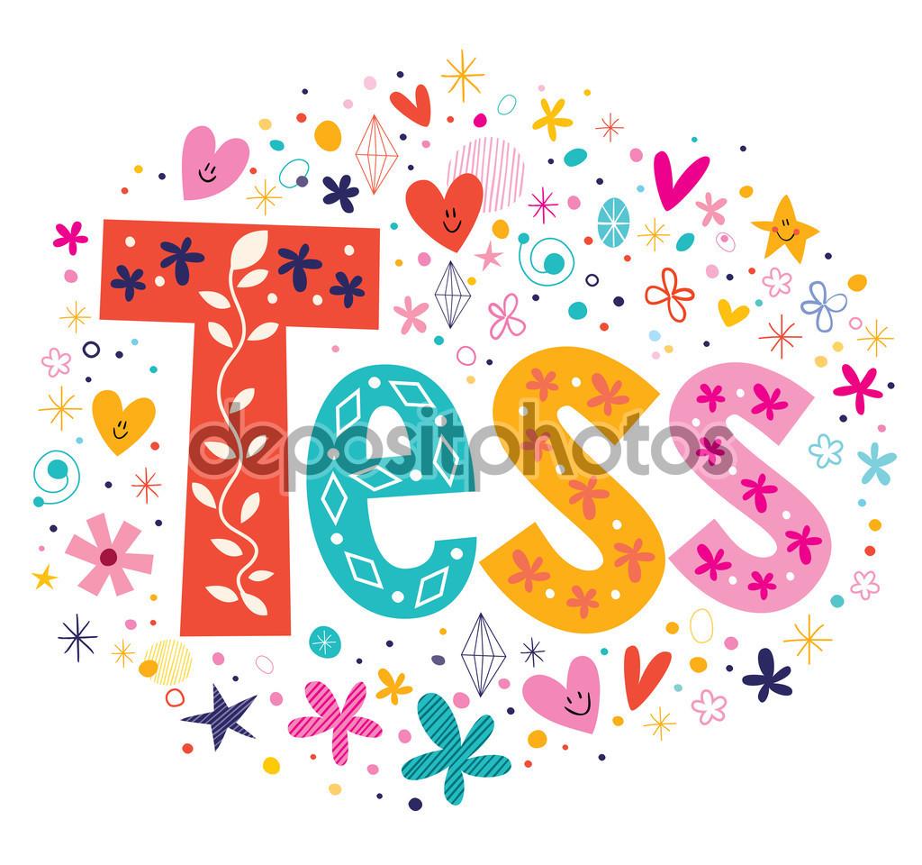 Tess girls name decorative lettering type design — Stock Vector.