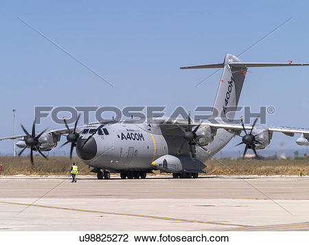 Stock Photo of Airbus Defence and Space A400M flight test aircraft.