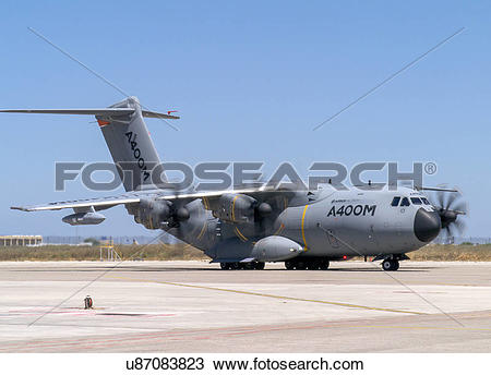Stock Photo of Airbus Defense and Space A400M flight test aircraft.
