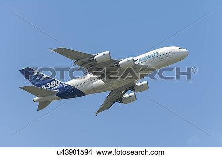 Stock Photo of Airbus A380 flight test aircraft displays at Paris.
