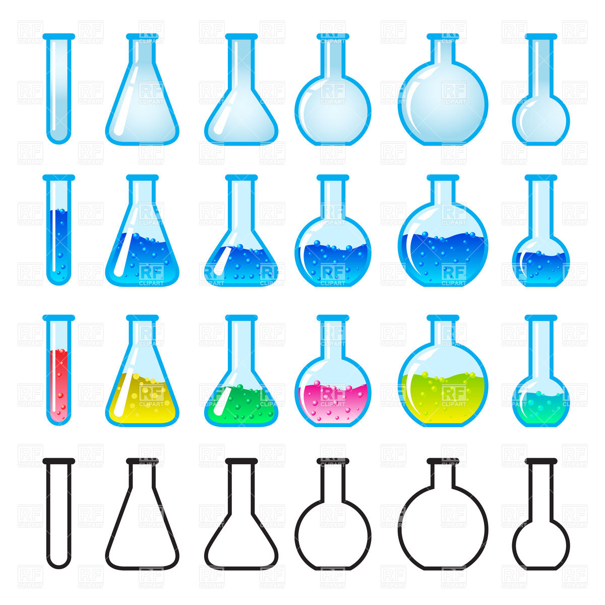 Laboratory glass flasks and test tubes Vector Image #8045.
