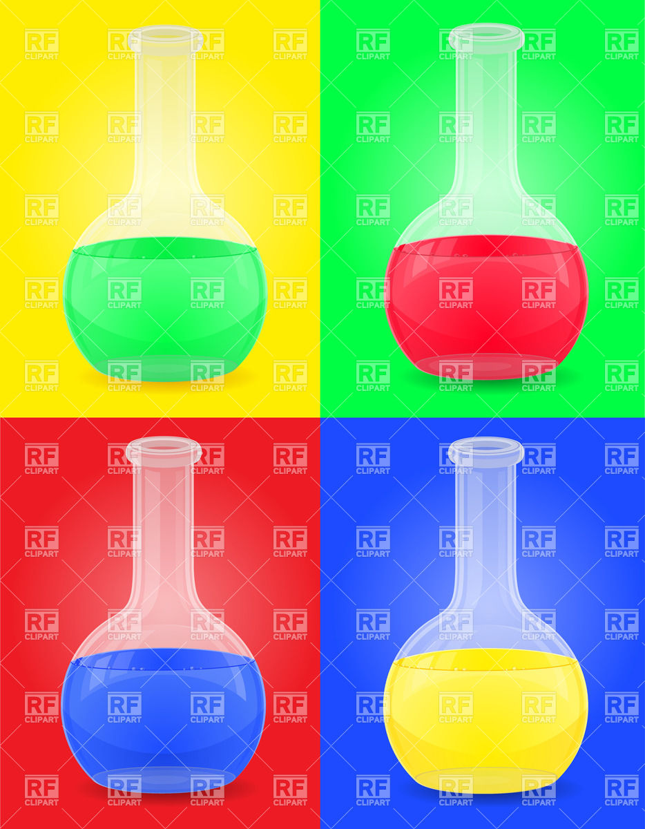 Round glass test tube with color liquid Vector Image #25798.