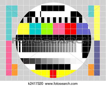 Stock Illustrations of Retro TV multicolor signal test pattern.
