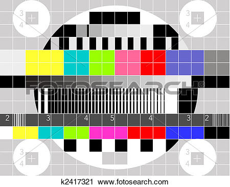 Clipart of Retro TV multicolor signal test pattern k2417321.