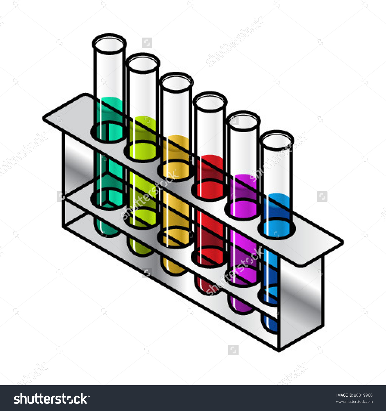 Set Test Tubes Sitting Metal Rack Stock Vector 88819960.