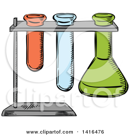 Clipart of a Test Tube with Peach Colored Liquid.