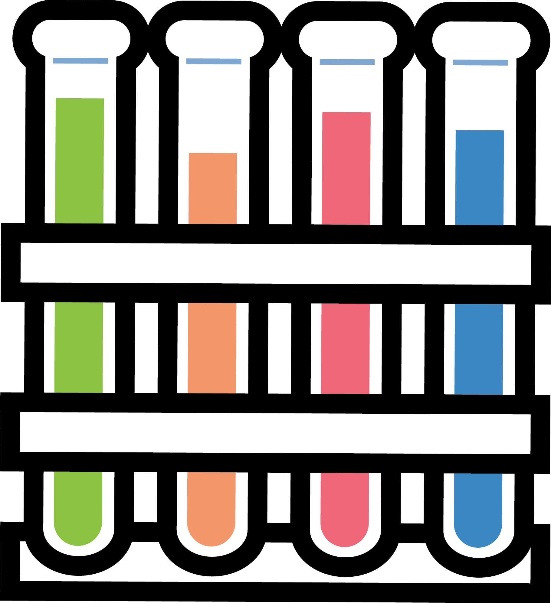 3 Science Test Tubes Clipart.