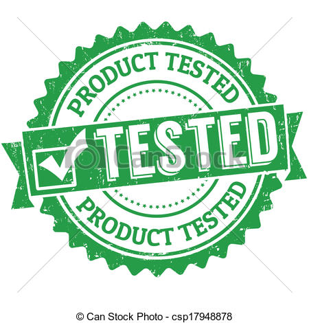 Clip Art Vector of Kid tested, mom approved stamp.