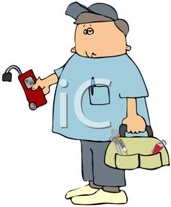 Cartoon of a Technician Holding a Bag of Tools and a Tester In His.
