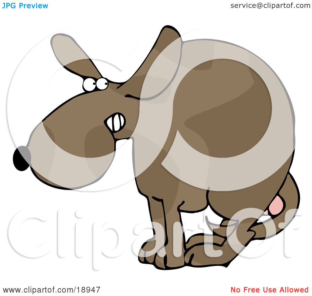 Clipart Illustration of a Scared Dog At The Vets Office, Cowering.