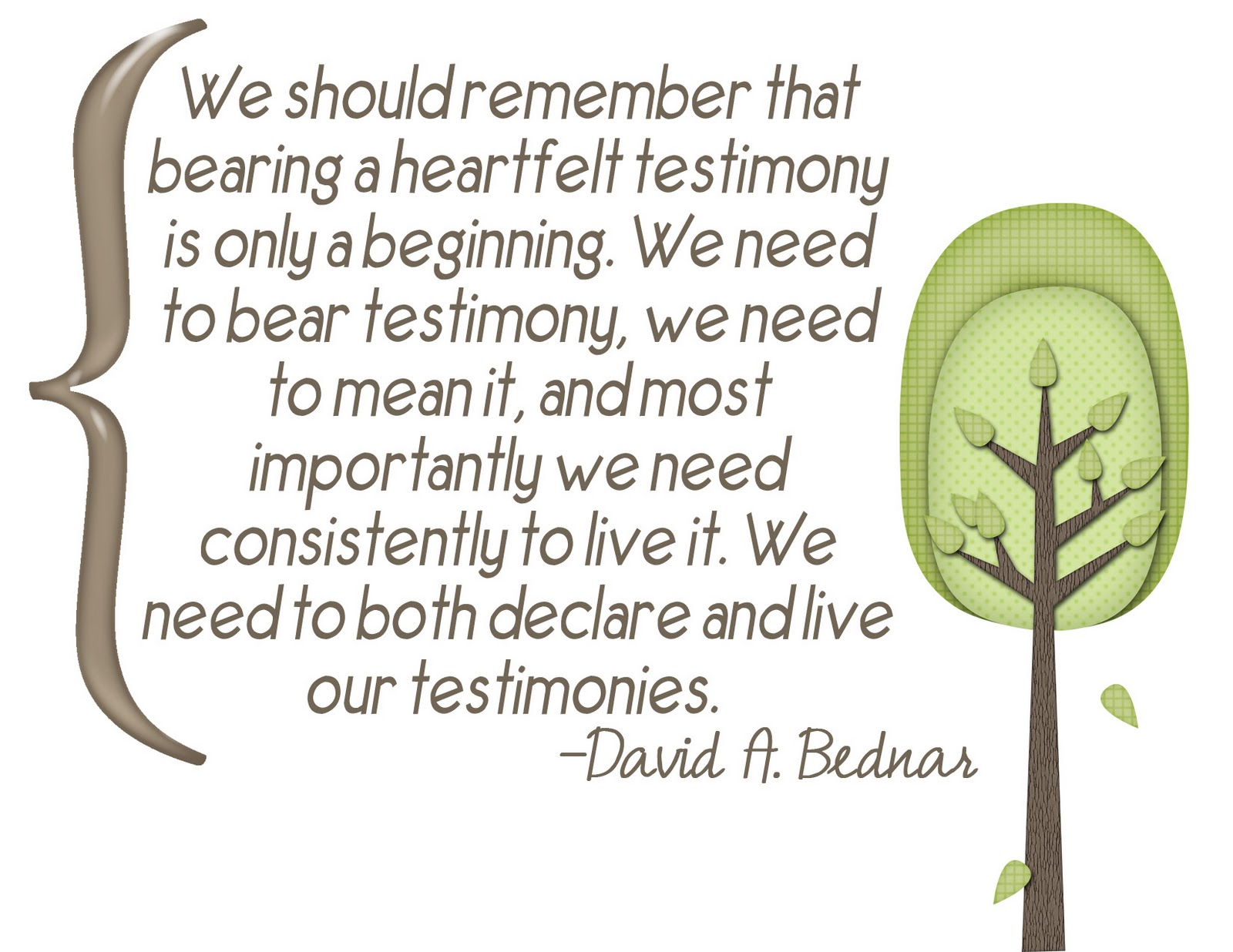 My LDS Life: Young Women Testimony Handout.