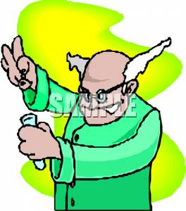 Free Clipart Image: A Mad Scientist Mixing Chemicals In a Test Tube.