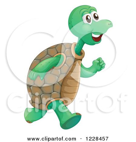 Clipart Illustration of a Three Goofy Tortoise Turtles, One.