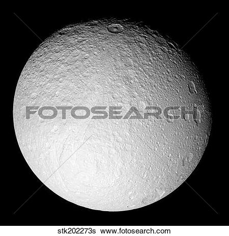 Stock Images of The South Pole of Saturn's moon Tethys stk202273s.