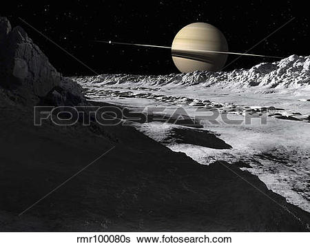 Stock Illustration of Saturn's moon, Tethys, is split by an.