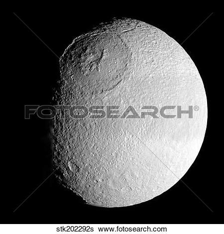 Stock Images of Saturn's moon Tethys. stk202292s.