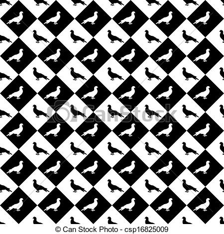 Vector Clipart of Design seamless monochrome diamond pattern with.
