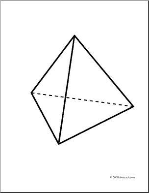 Clip Art: 3D Solids: Tetrahedron (coloring page).