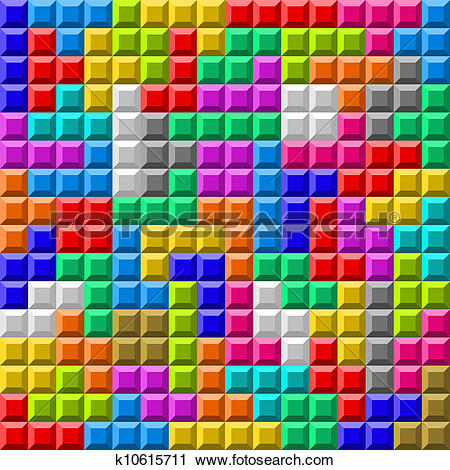 Clipart of Colorful Tetris board background k10615711.